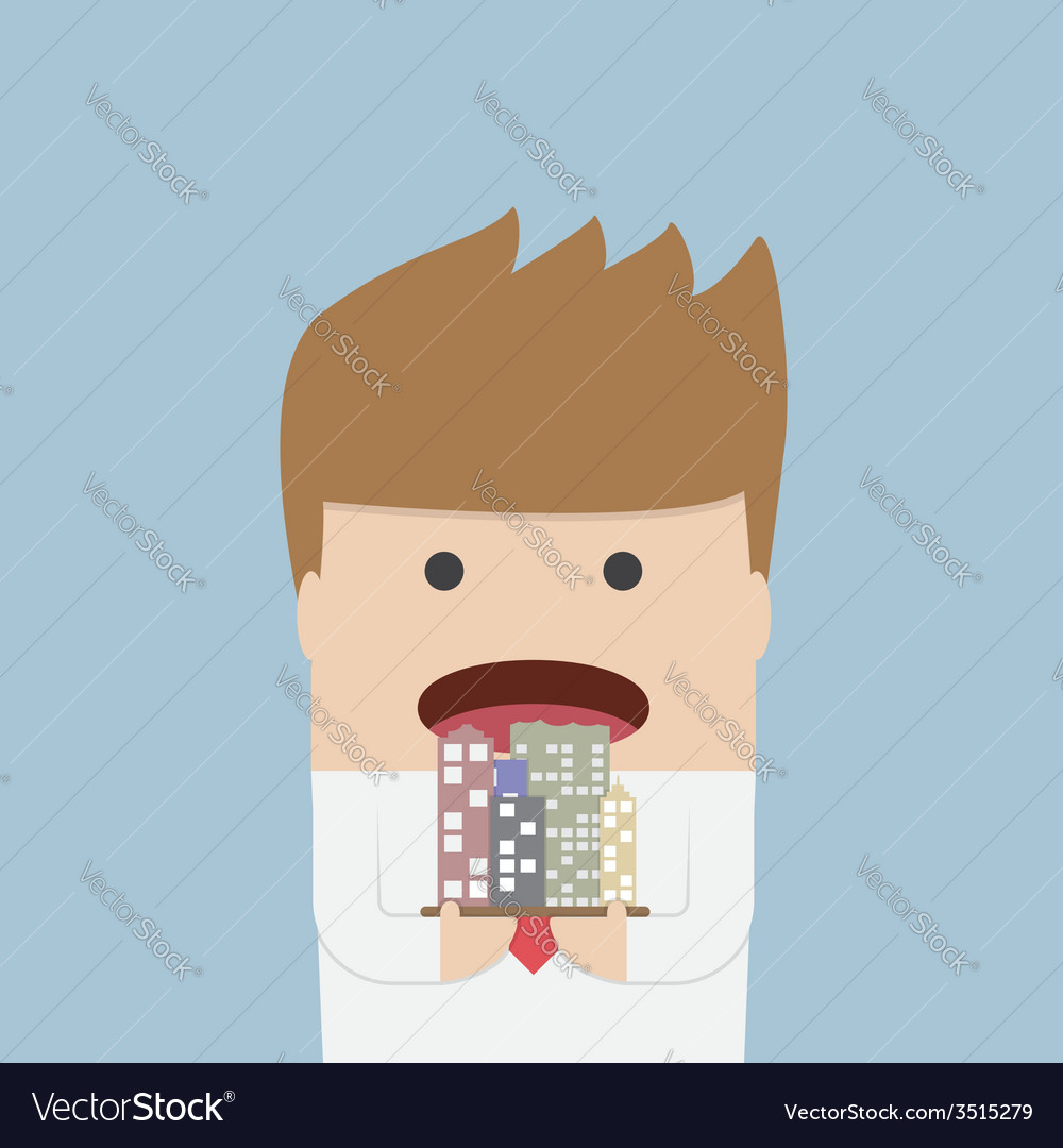 Businessman eating the city corruption concept vector | Price: 1 Credit (USD $1)