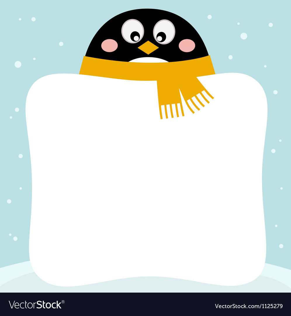 Cute penguin with winter blank banner vector | Price: 1 Credit (USD $1)