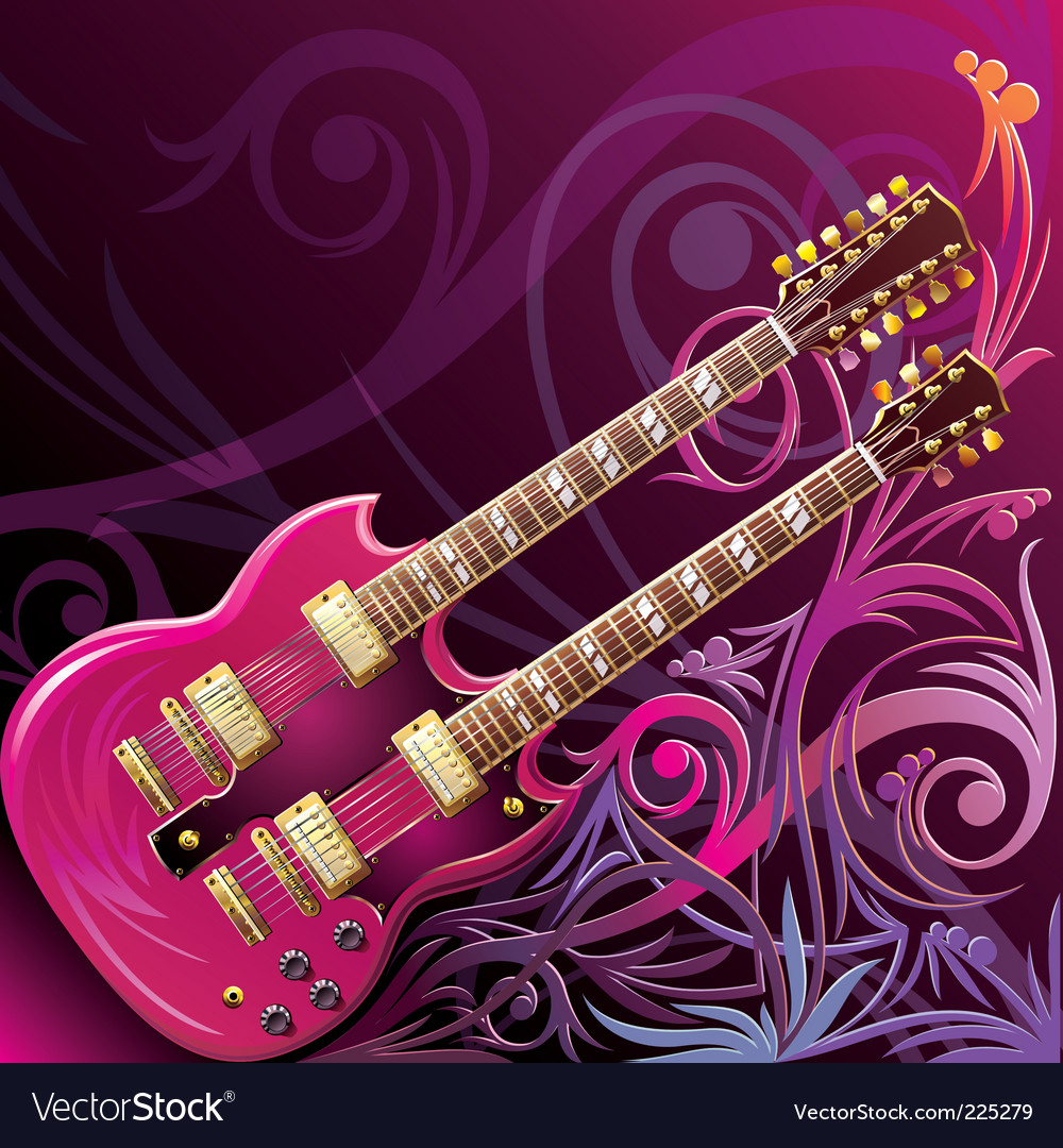 Double neck guitar vector | Price: 1 Credit (USD $1)
