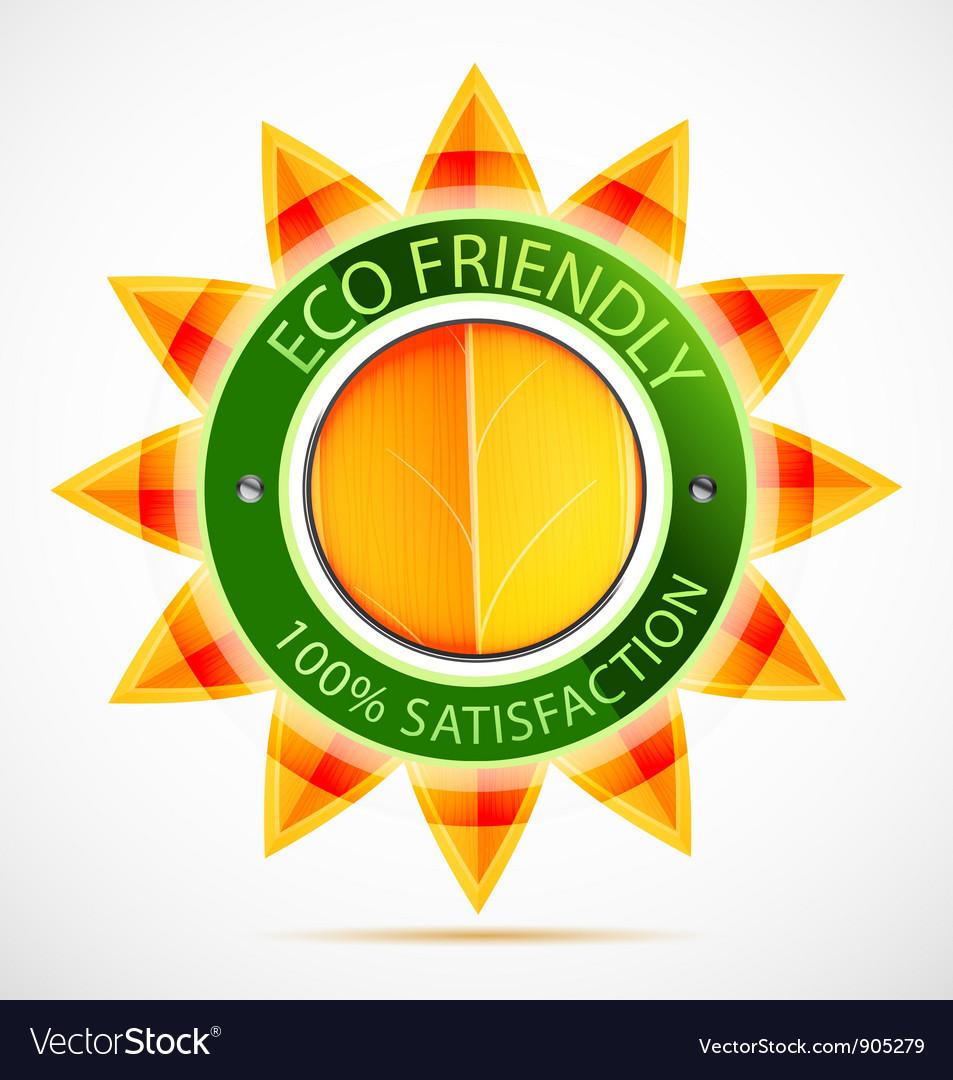 Eco friendly sun label vector | Price: 1 Credit (USD $1)
