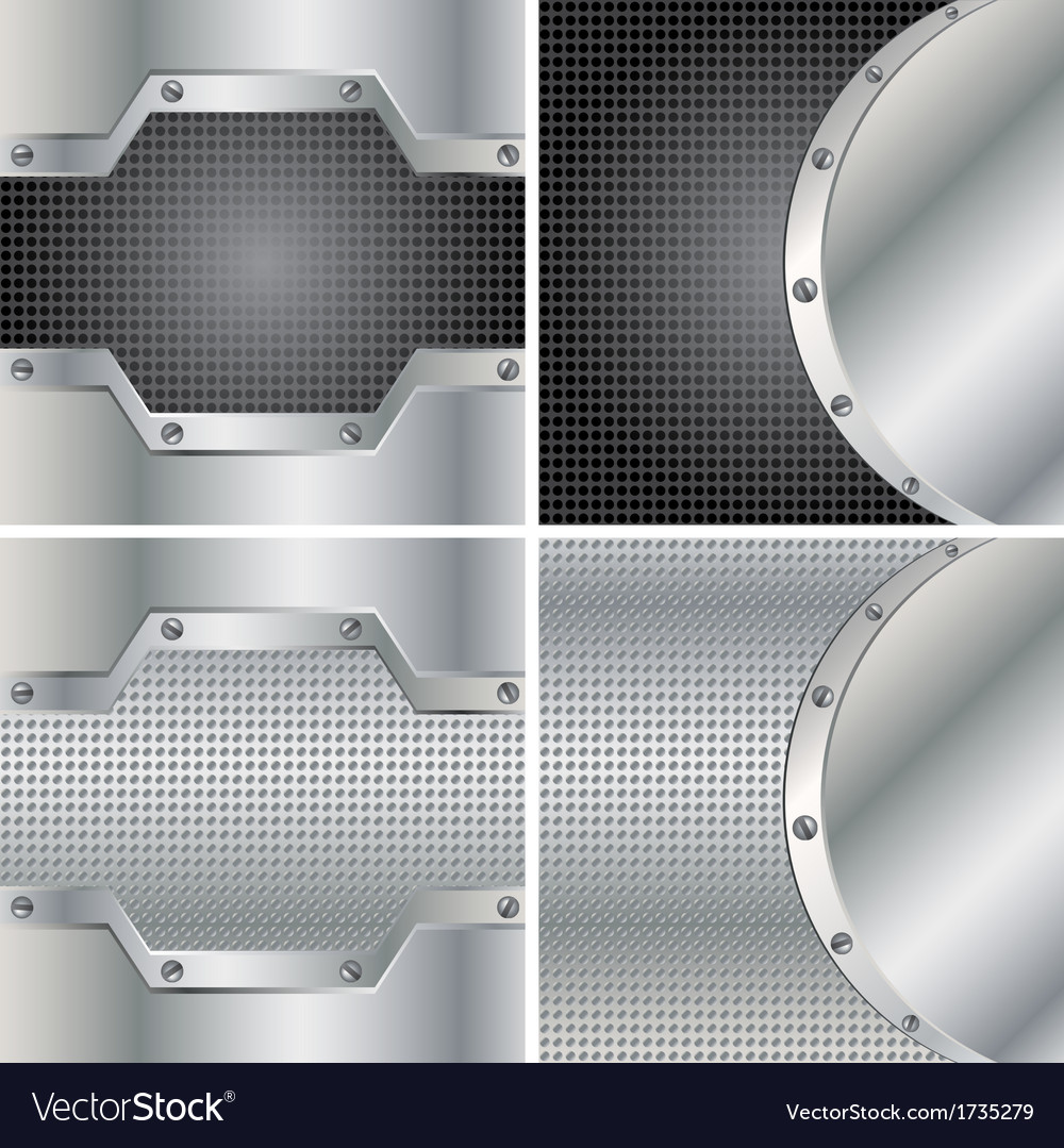 Four metal backgrounds vector | Price: 1 Credit (USD $1)