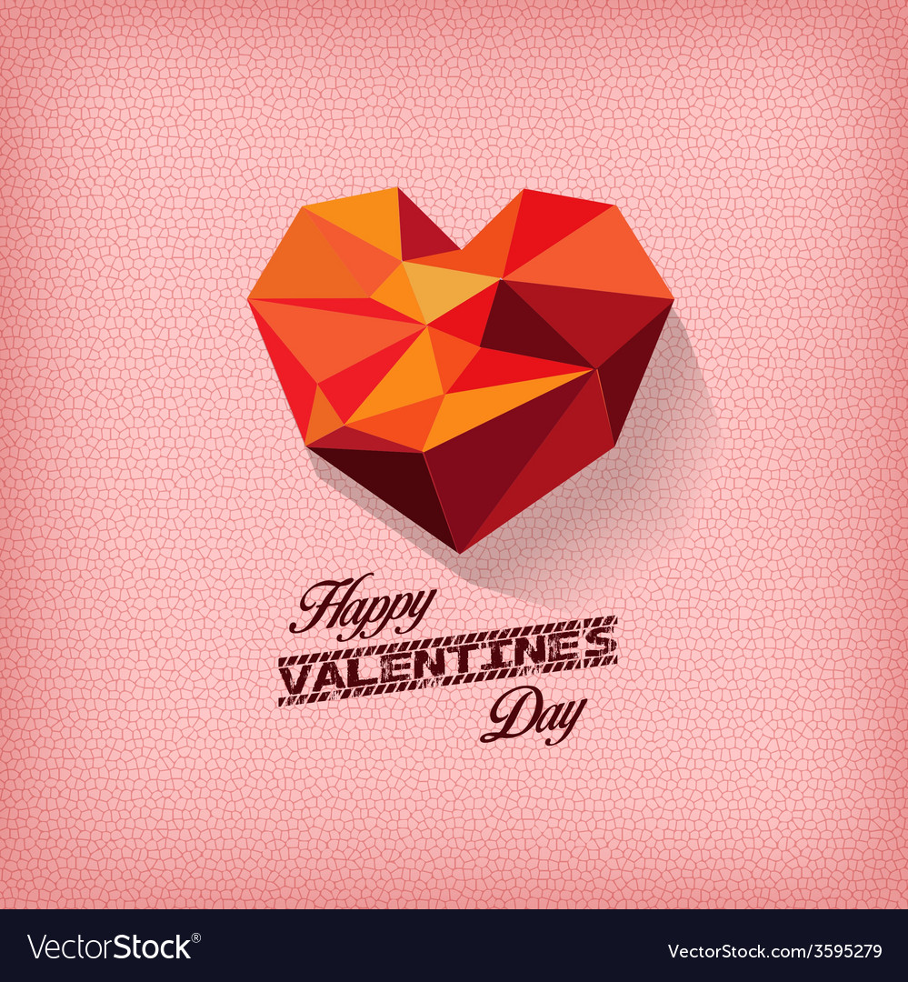 Happy valentines day with geometrical heart vector | Price: 1 Credit (USD $1)