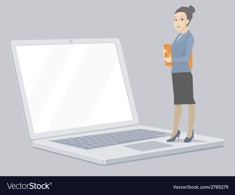 Portrait of a miniature woman manager keeps vector | Price: 1 Credit (USD $1)