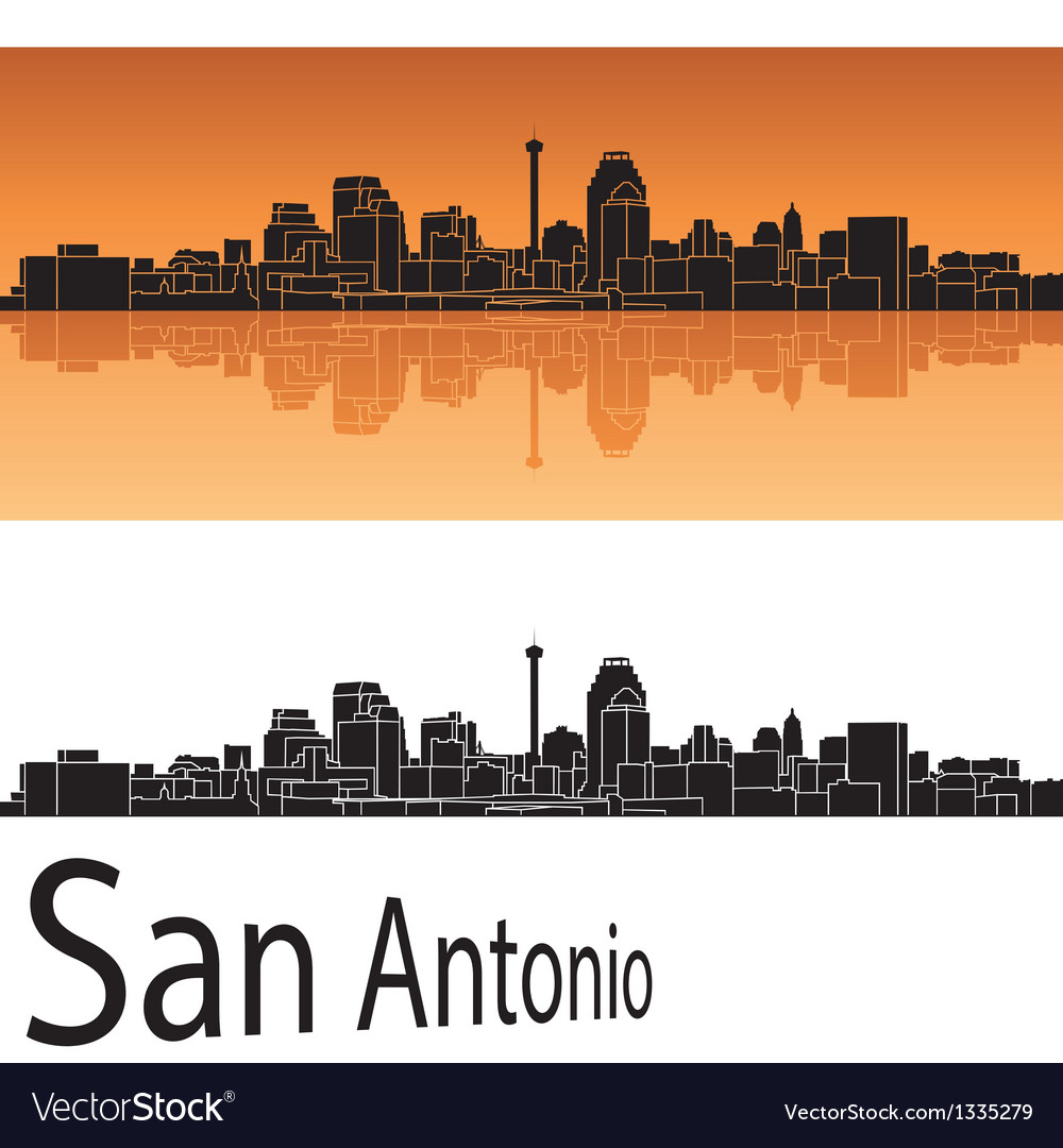 San antonio skyline in orange background vector | Price: 1 Credit (USD $1)