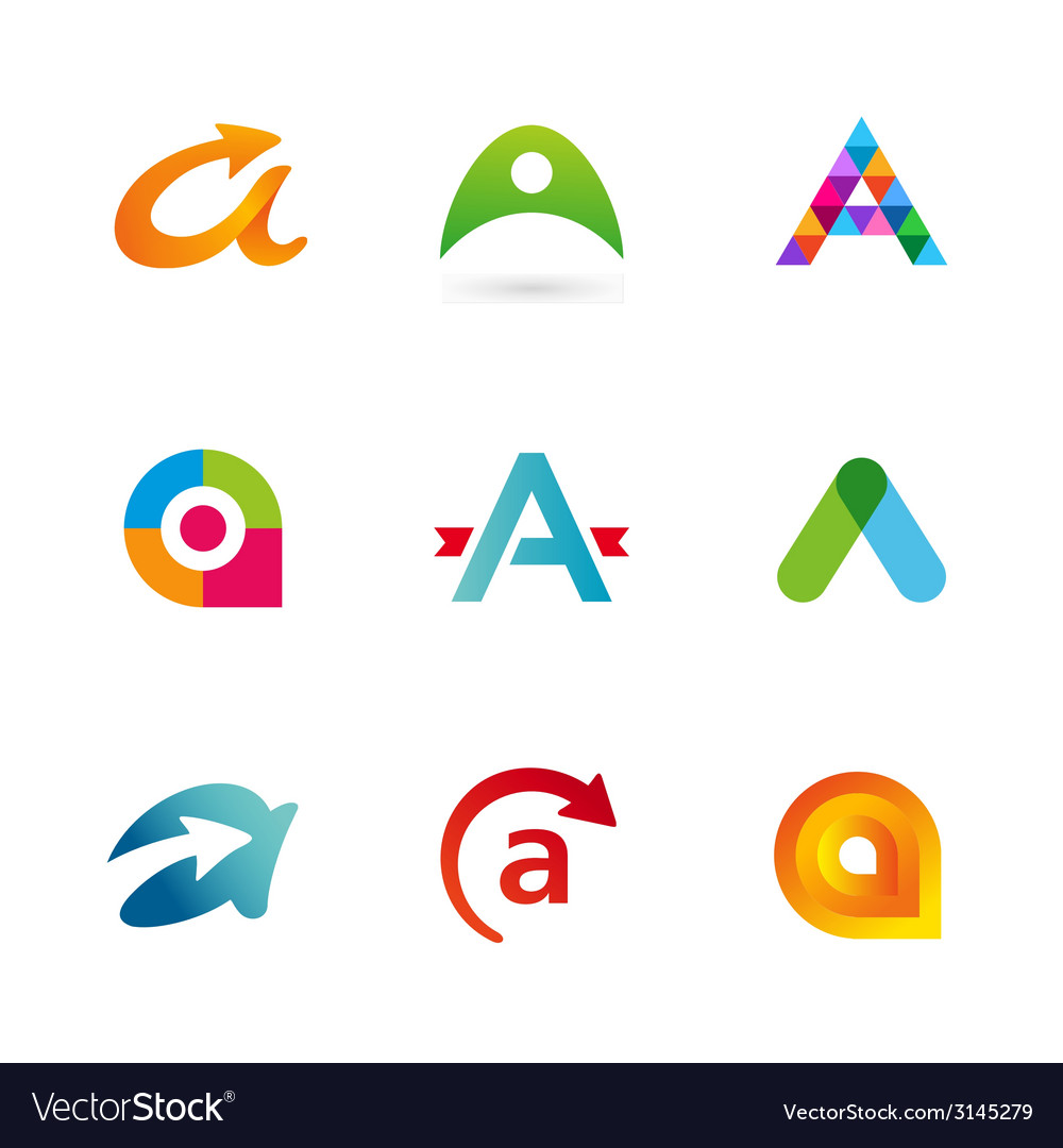 Set of letter a logo icons design template vector | Price: 1 Credit (USD $1)