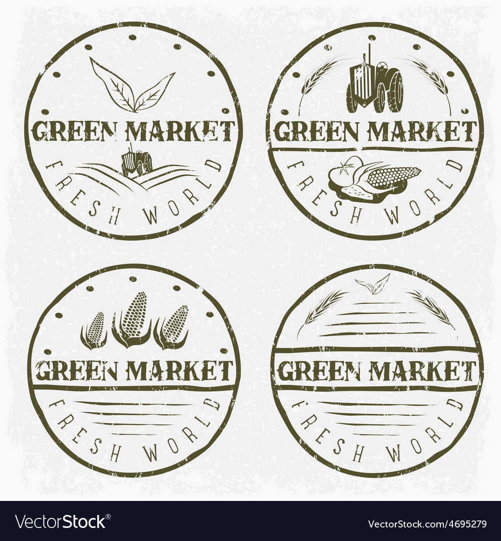 Set of vintage labels of green market with tractor vector | Price: 1 Credit (USD $1)