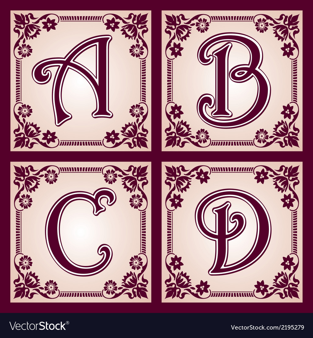 Vvintage alphabet part 1 vector | Price: 1 Credit (USD $1)