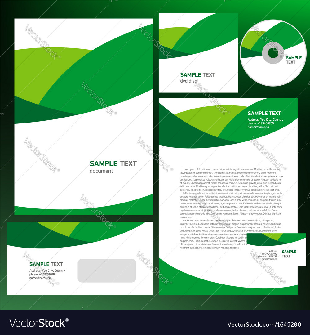 Abstract creative corporate identity wave green vector | Price: 1 Credit (USD $1)