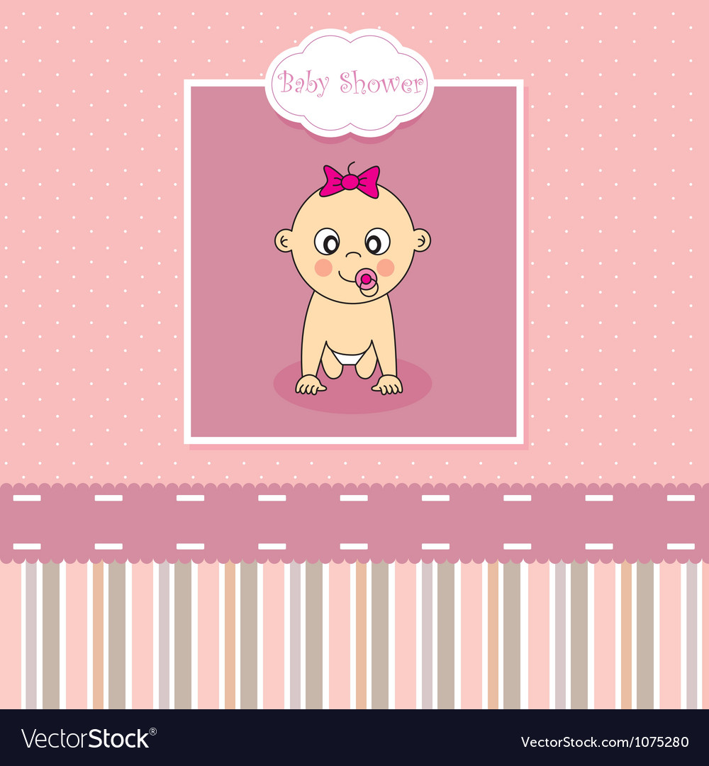 Baby girl birth greeting card vector | Price: 1 Credit (USD $1)