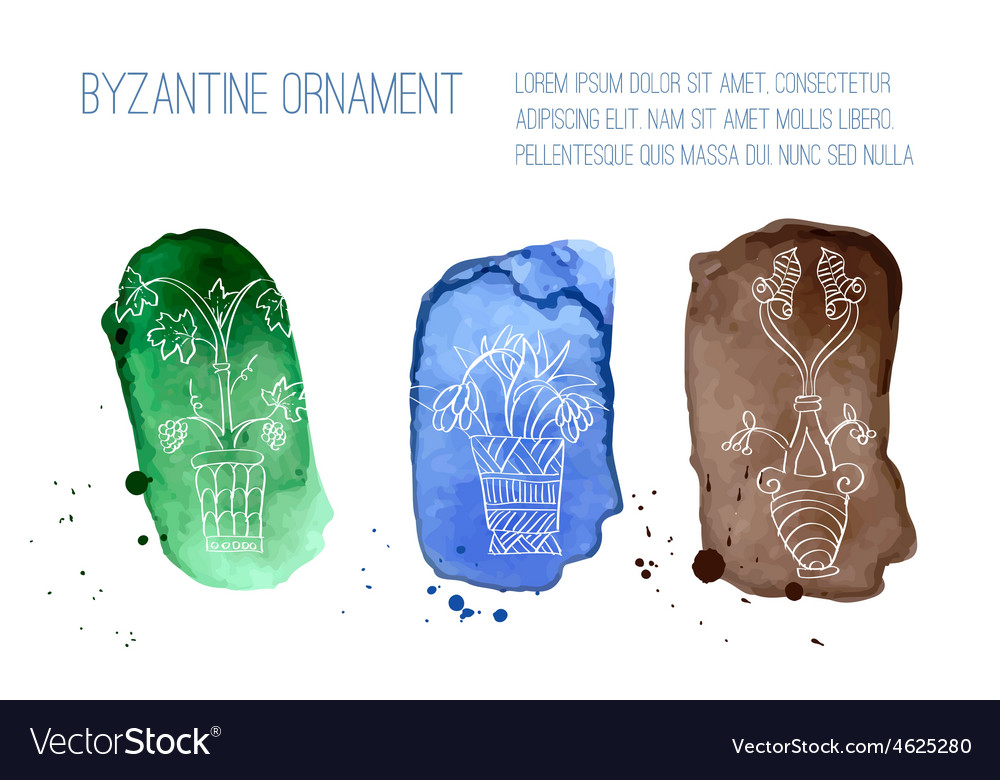 Byzantine ornament painted white chalk vector   Price: 1 Credit (USD $1)