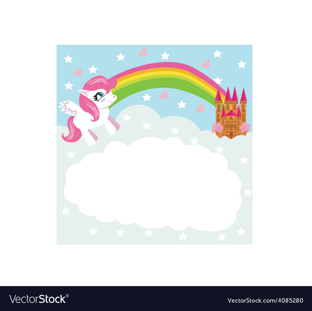 Card with a cute unicorn rainbow and fairytale vector