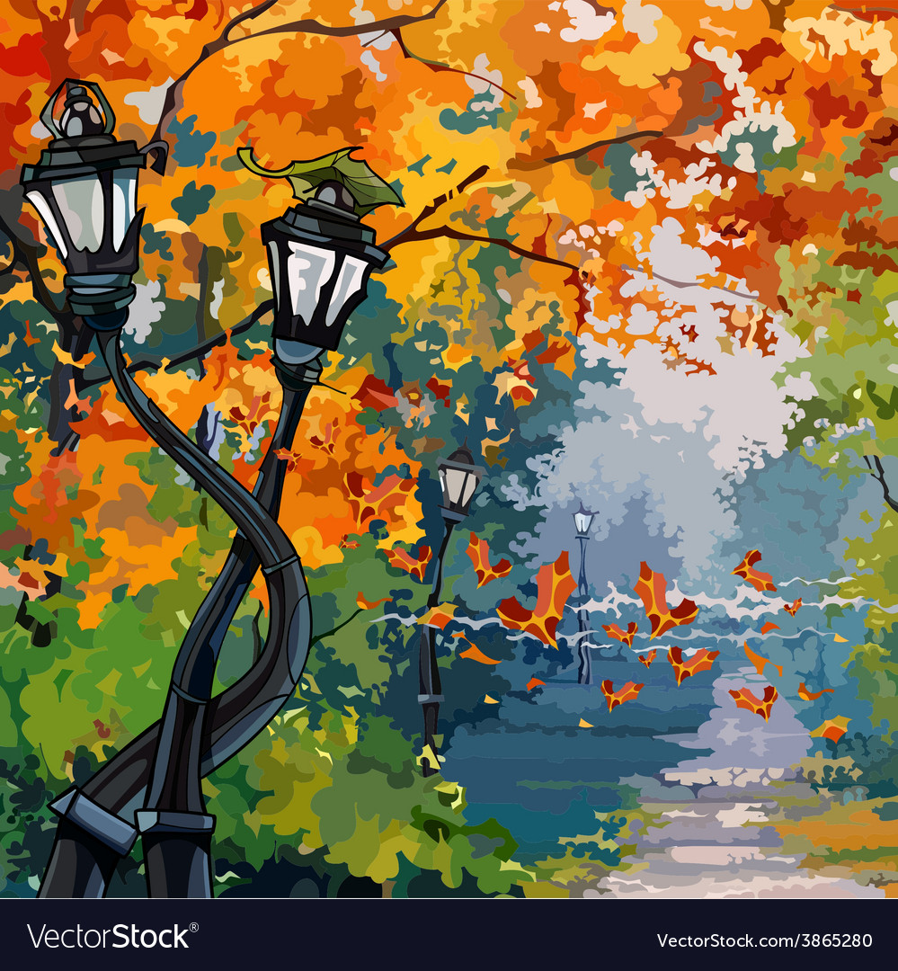 Cartoon street lights in the autumn park vector | Price: 3 Credit (USD $3)