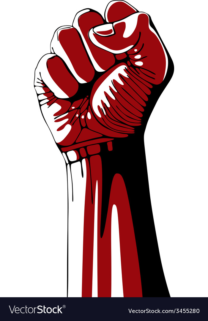 Clenched fist held high in protest vector | Price: 1 Credit (USD $1)