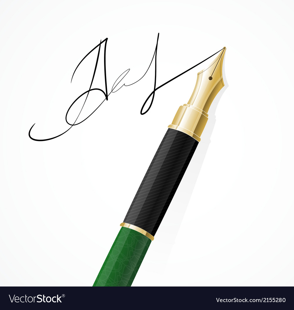 Close up of a fountain pens and signature vector | Price: 1 Credit (USD $1)