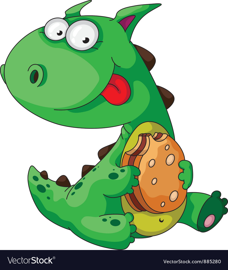 Dinosaur eating vector | Price: 3 Credit (USD $3)