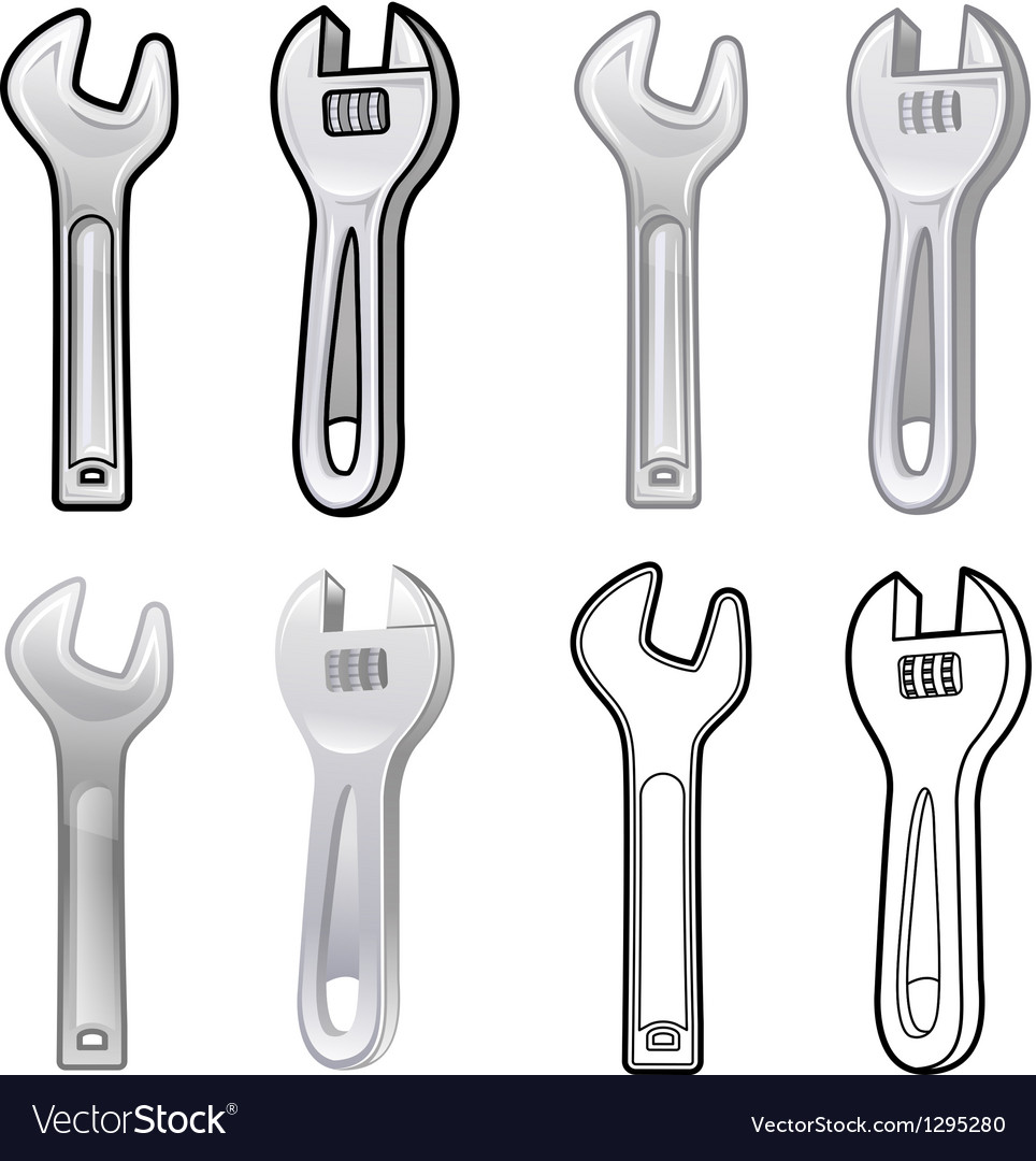 Diverse styles of spanner and wrench sets vector | Price: 1 Credit (USD $1)