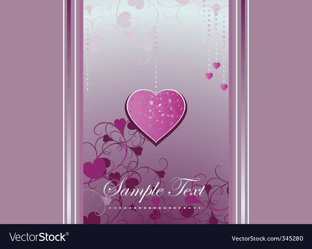 Heart bracket and curls on a violet background vector | Price: 1 Credit (USD $1)