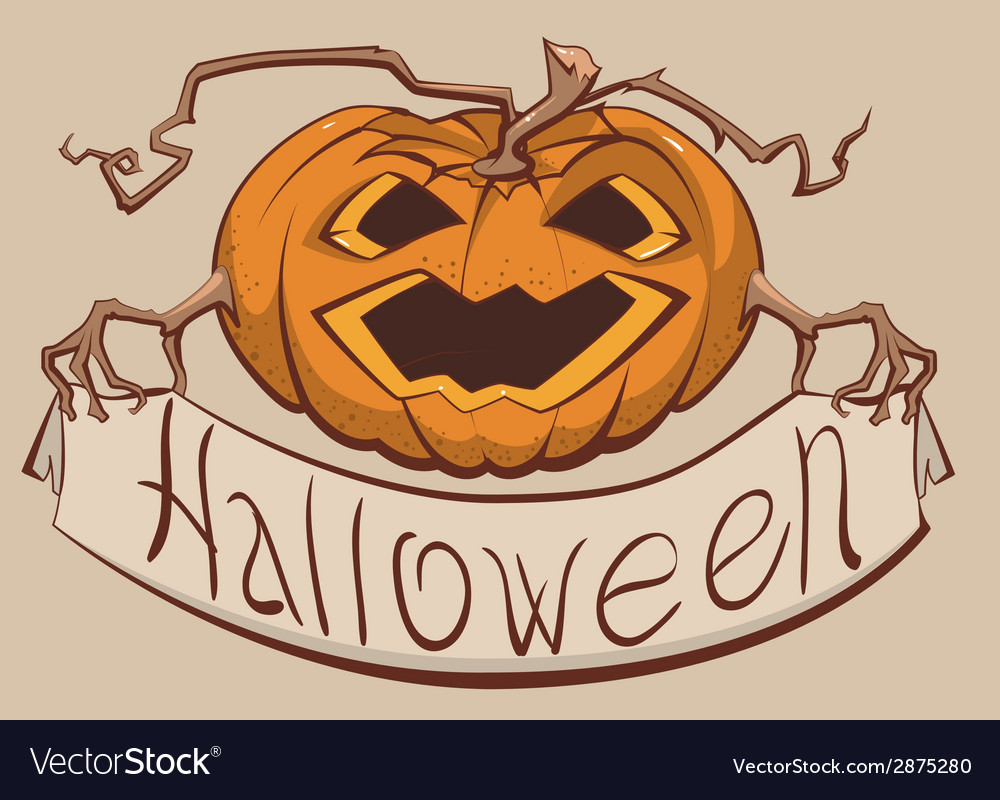 Lantern pumpkin holding a banner halloween vector | Price: 1 Credit (USD $1)
