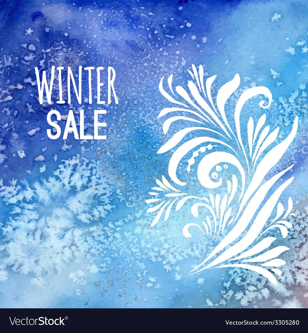 Winter sale background watercolor vector
