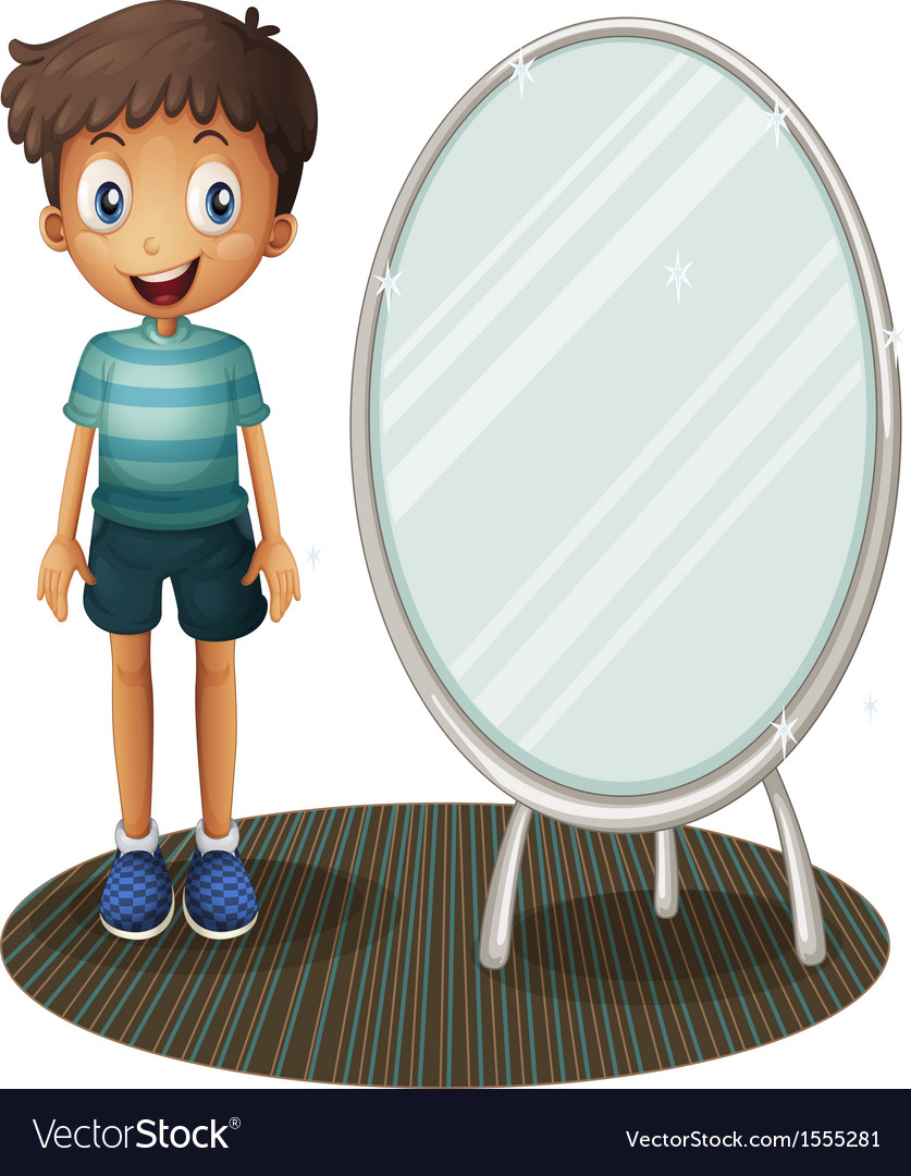 A boy standing beside the mirror vector | Price: 1 Credit (USD $1)