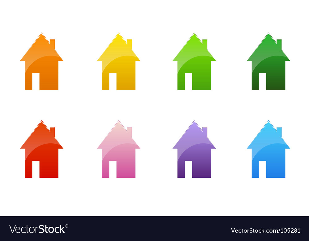 Coloured cottages vector | Price: 1 Credit (USD $1)