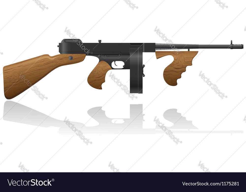 Gangster gun thompson 01 vector | Price: 1 Credit (USD $1)