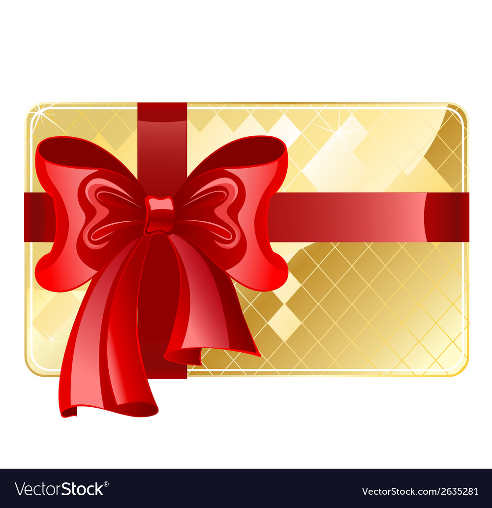 Gold card with a red ribbon vector | Price: 1 Credit (USD $1)