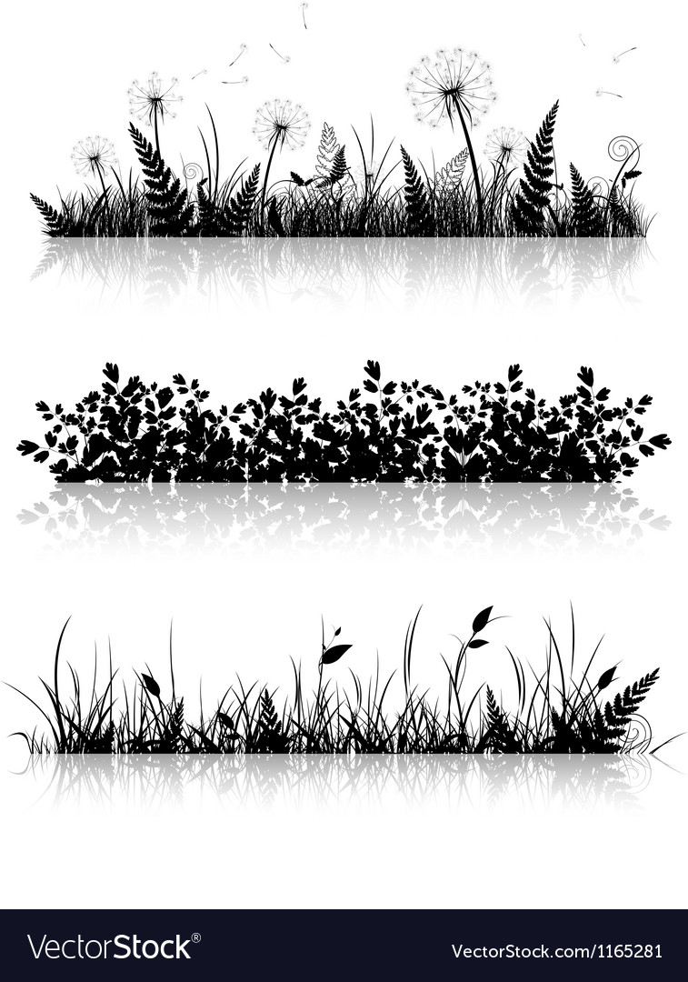 Grass banner silhouette collection vector | Price: 1 Credit (USD $1)