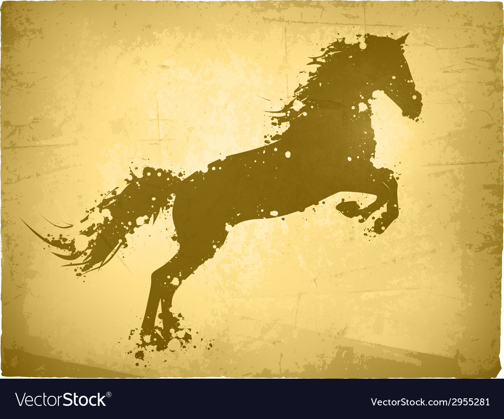 Ink splashes horse at vintage paper vector | Price: 1 Credit (USD $1)