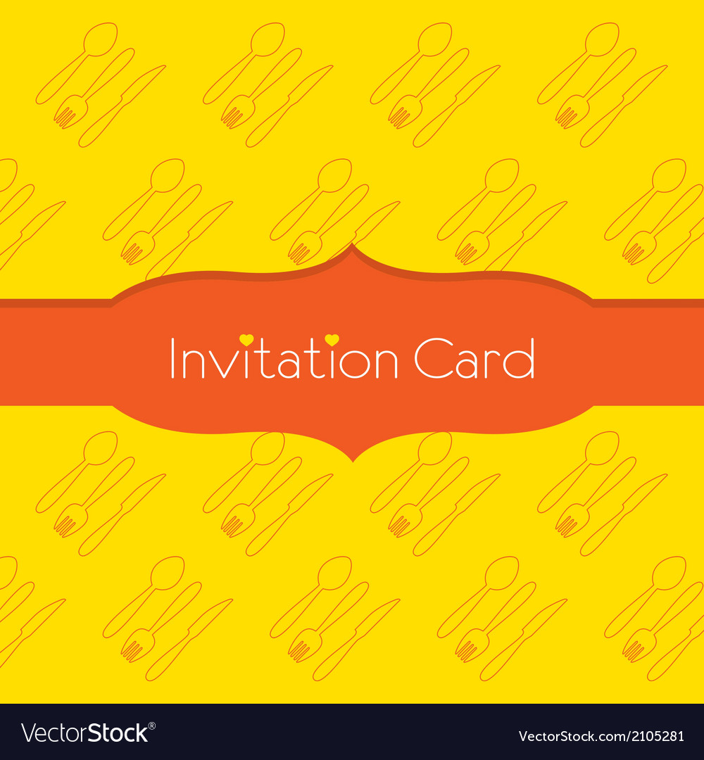 Knife fork spoon invitation card vector   Price: 1 Credit (USD $1)