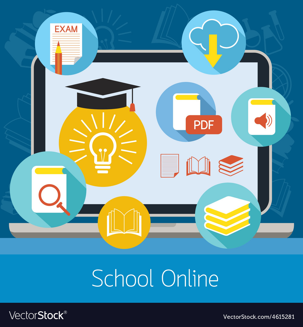 Laptop with icons school online elearning concept vector