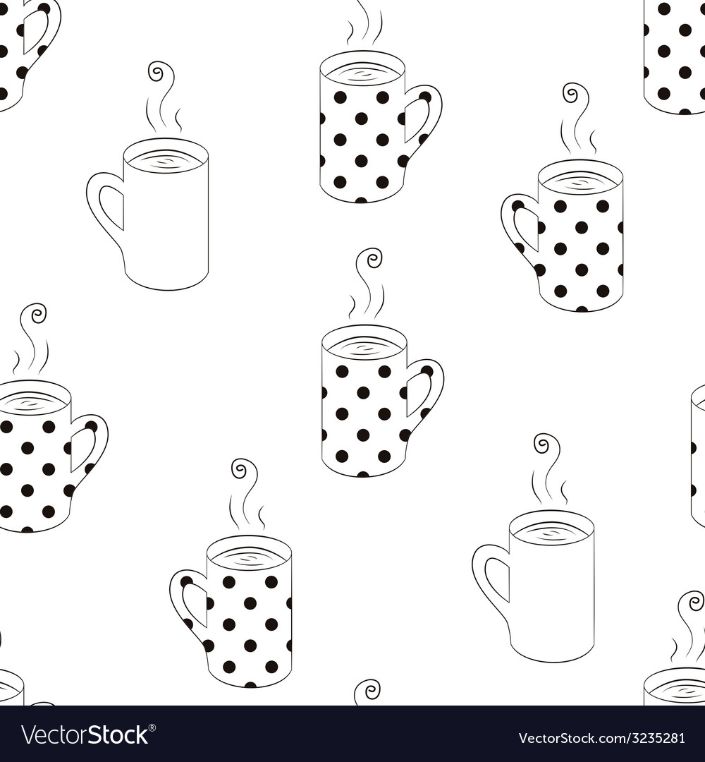 Monochrome seamless pattern with sketching cups vector | Price: 1 Credit (USD $1)