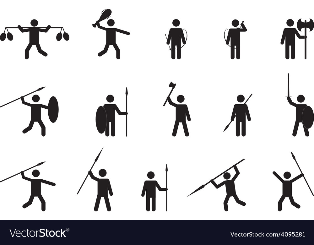 Primitive people with weapons vector | Price: 1 Credit (USD $1)