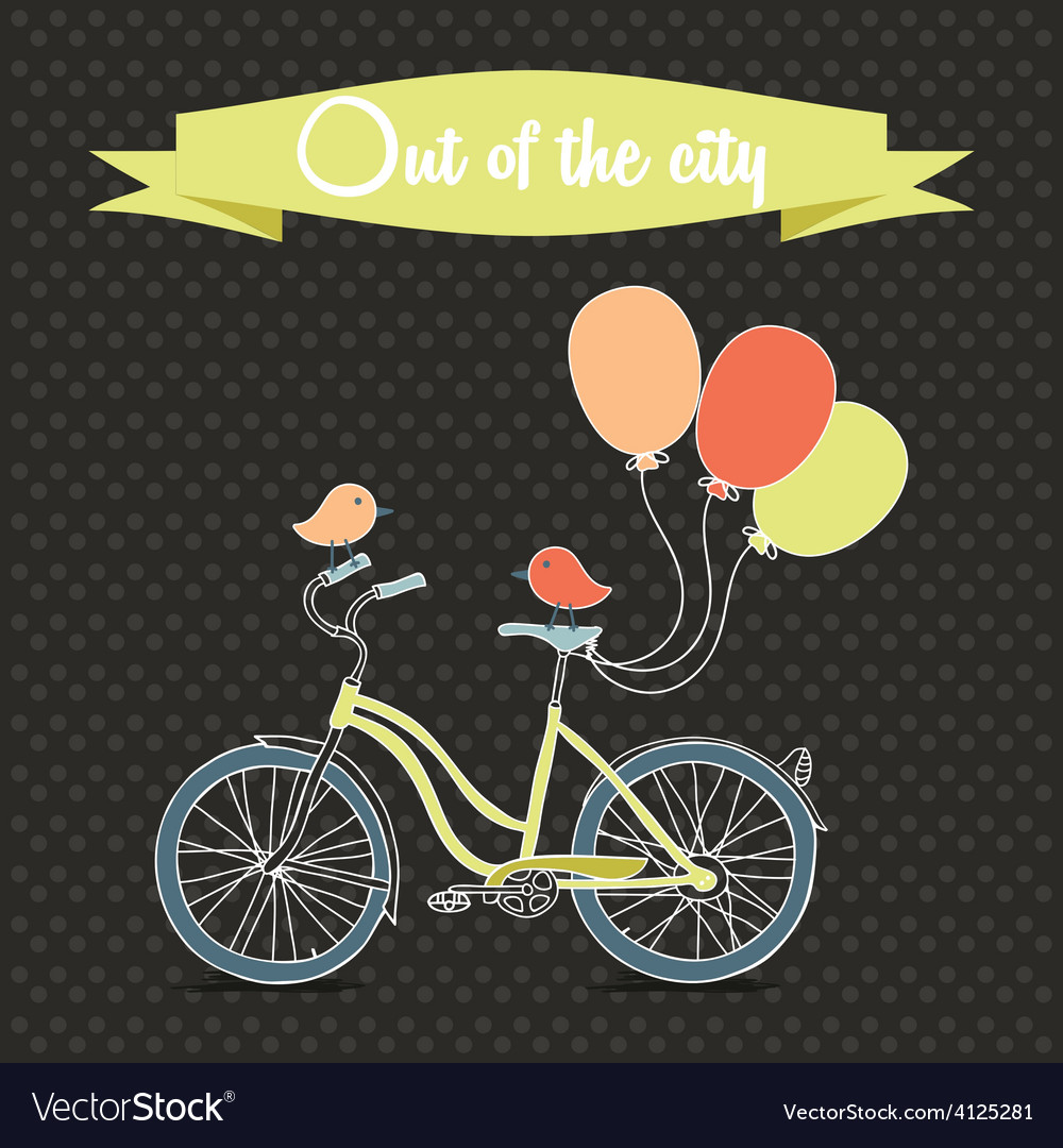 Retro poster with bicycle and balloons vector | Price: 1 Credit (USD $1)