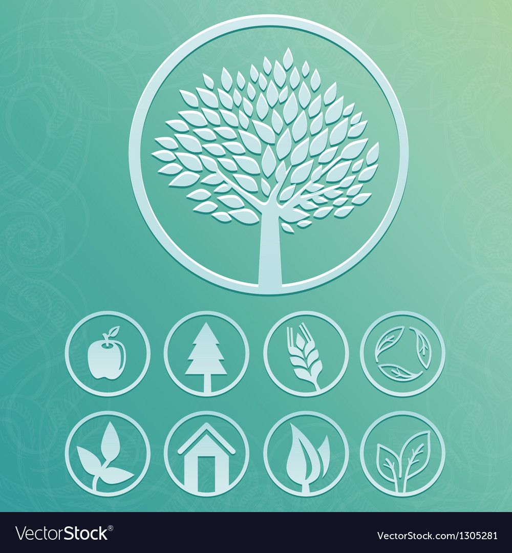 Round labels with tree and nature icons vector | Price: 1 Credit (USD $1)