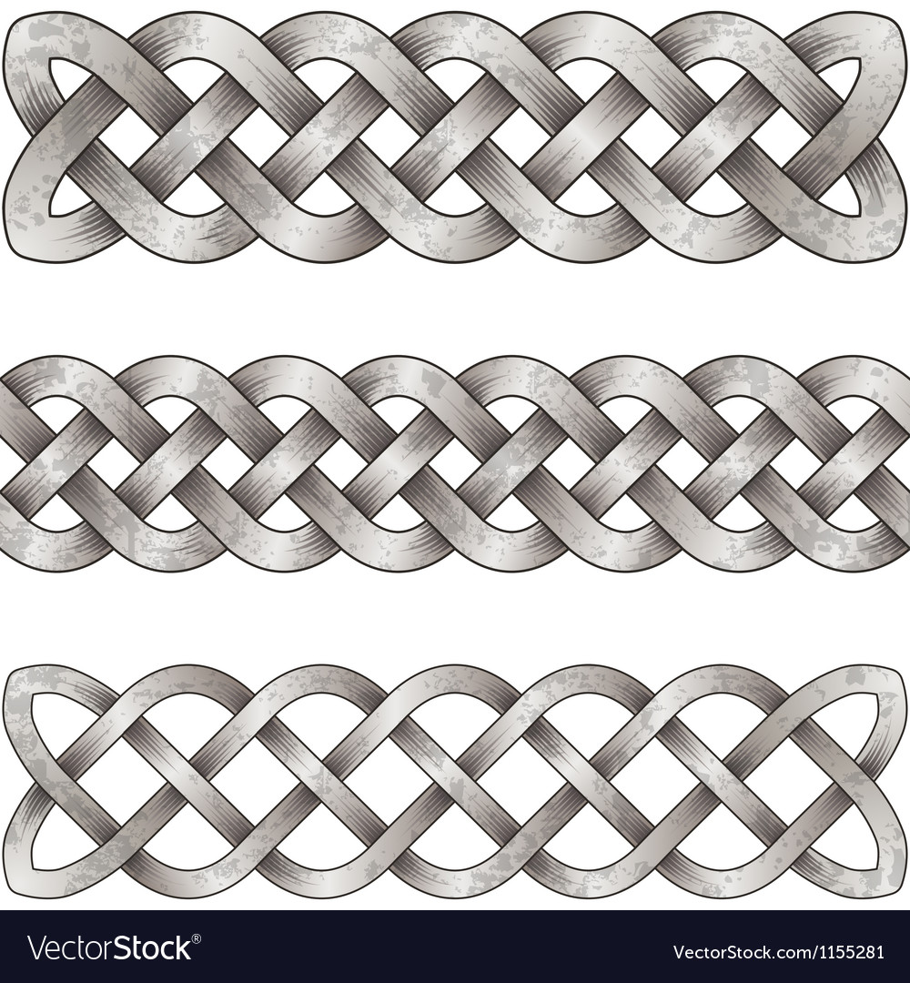 Set of silver celtic braids vector | Price: 1 Credit (USD $1)