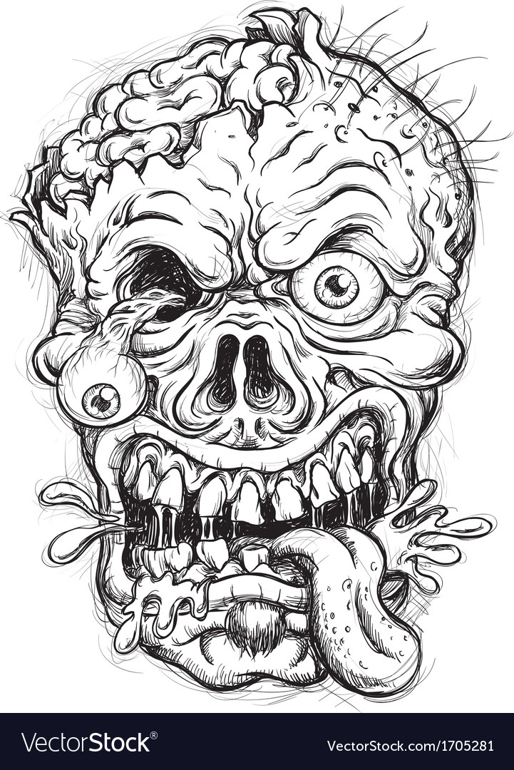 Sketchy zombie head vector | Price: 3 Credit (USD $3)
