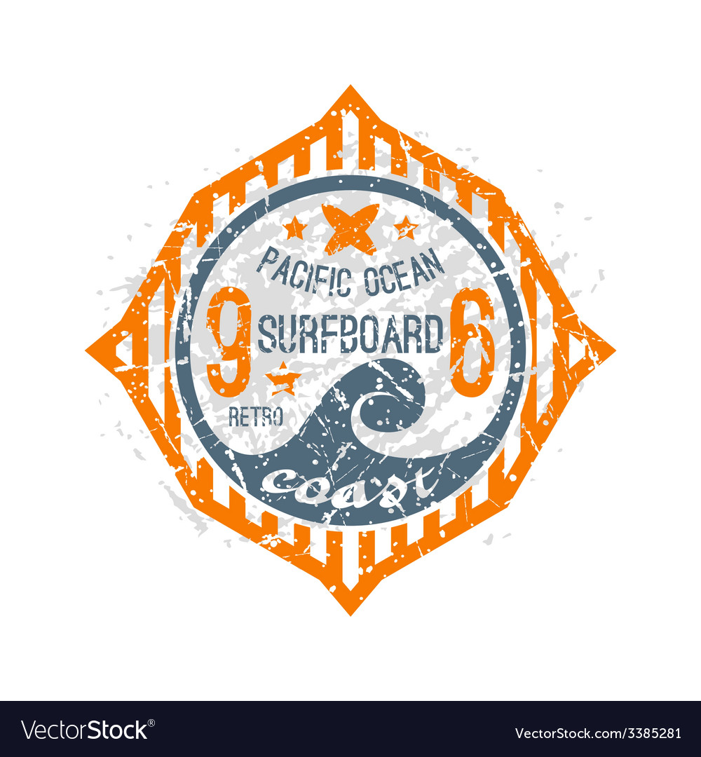 Surfing on wave pacific ocean emblem vector | Price: 1 Credit (USD $1)