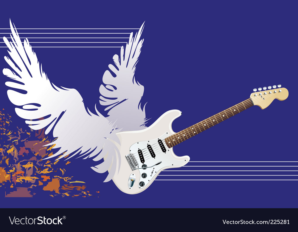 Winged guitar vector | Price: 3 Credit (USD $3)