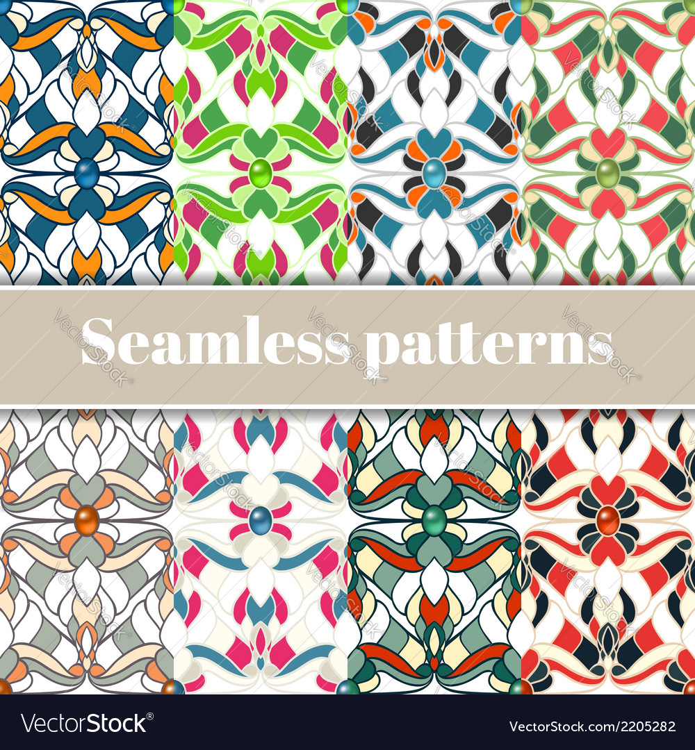 Abstract multicolored seamless patterns set vector | Price: 1 Credit (USD $1)