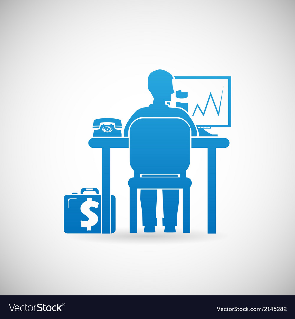 Business workspace symbol businessman at work icon vector   Price: 1 Credit (USD $1)