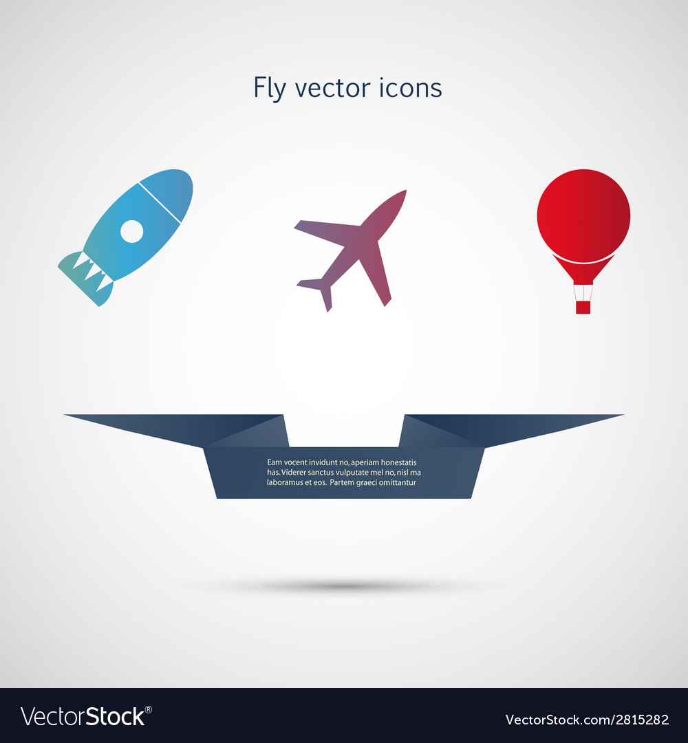 Flat icons aircraft missiles and balloon vector | Price: 1 Credit (USD $1)