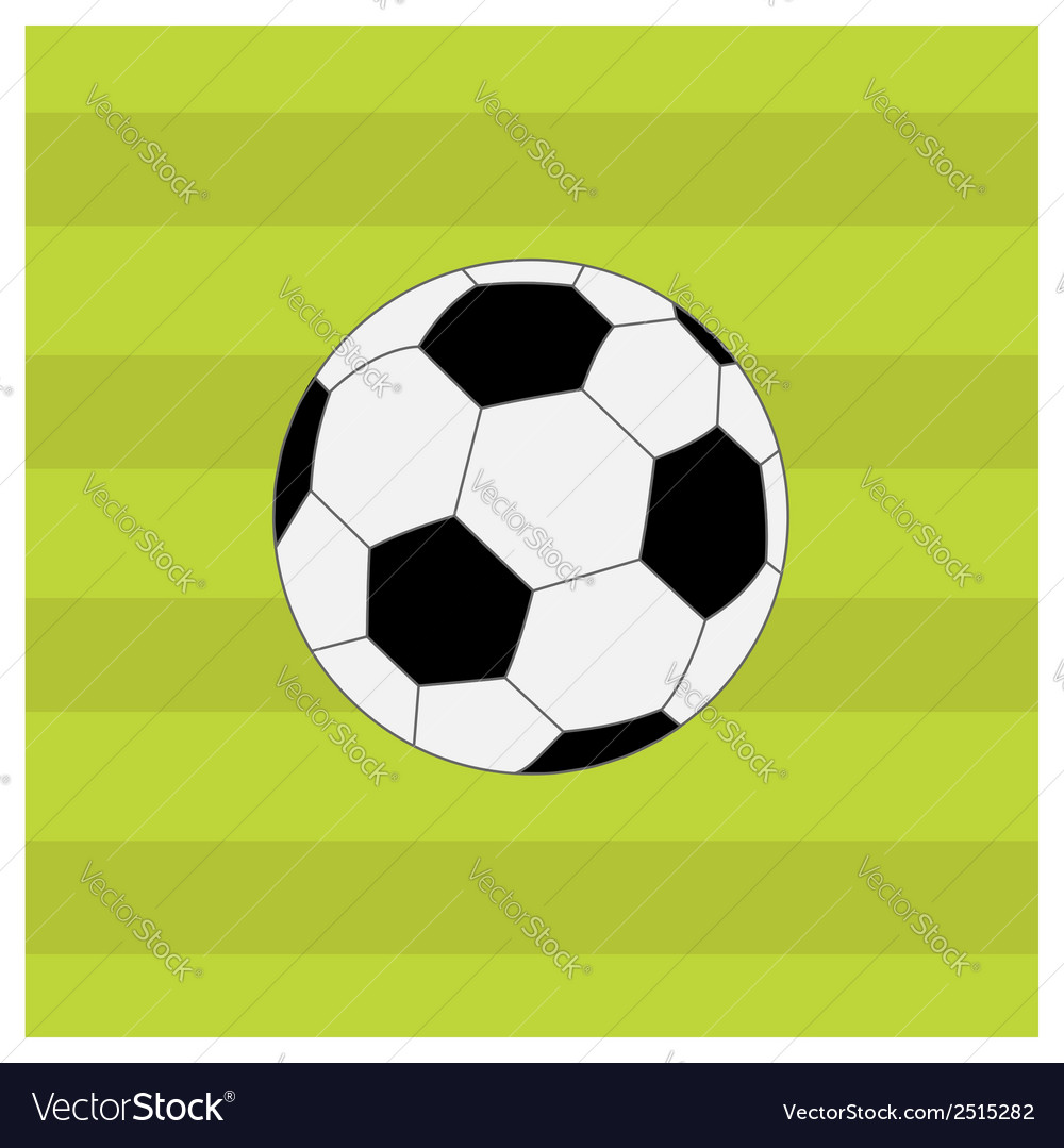 Football soccer ball on green grass field back vector | Price: 1 Credit (USD $1)