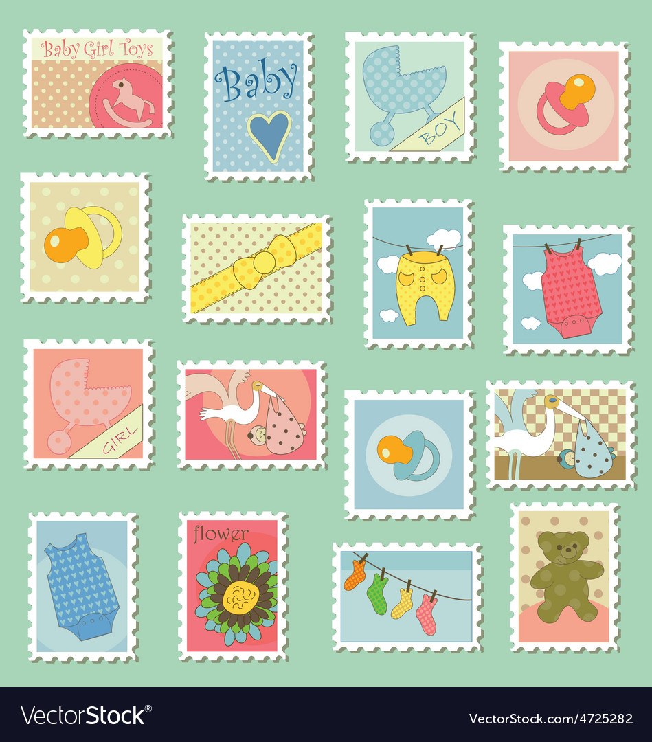 Postage stamps with baby theme vector | Price: 1 Credit (USD $1)