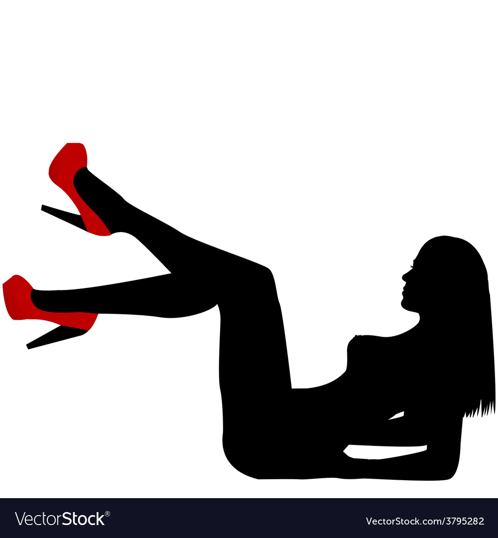 Sexy naked woman silhouette with red shoes vector | Price: 1 Credit (USD $1)