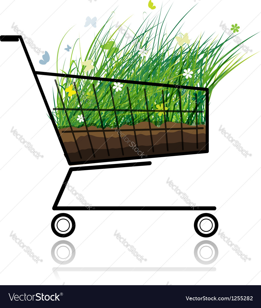 Spring grass in shopping cart for your design vector | Price: 1 Credit (USD $1)