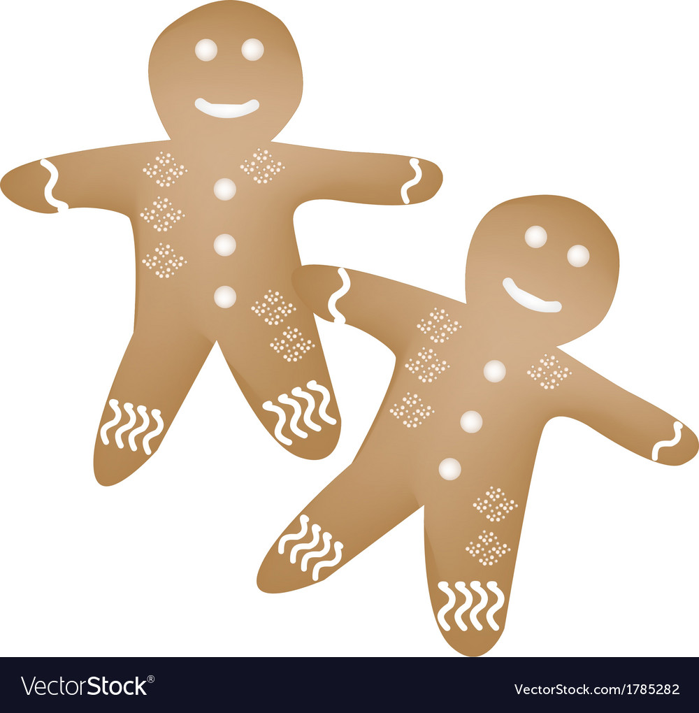 Two traditional christmas homemade gingerbread man vector | Price: 1 Credit (USD $1)