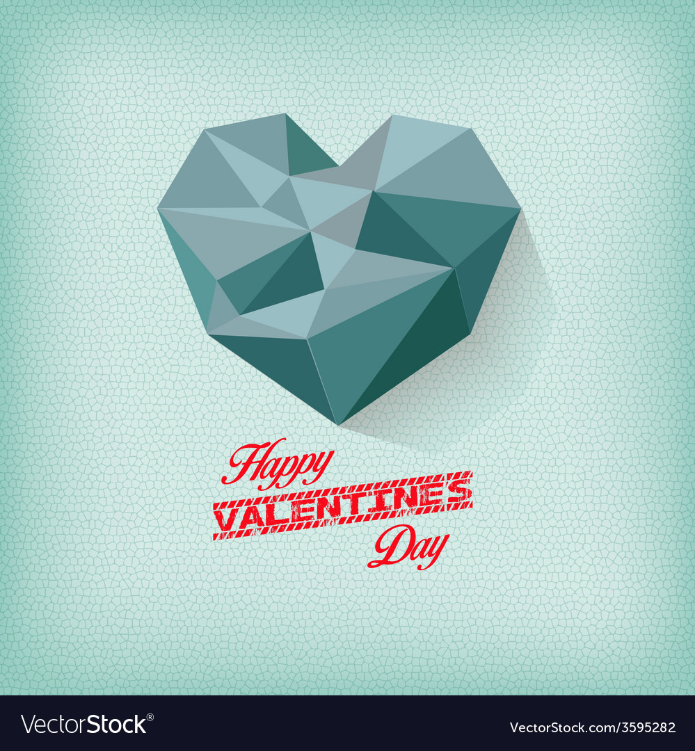 Vintage valentines day with geometrical heart vector | Price: 1 Credit (USD $1)