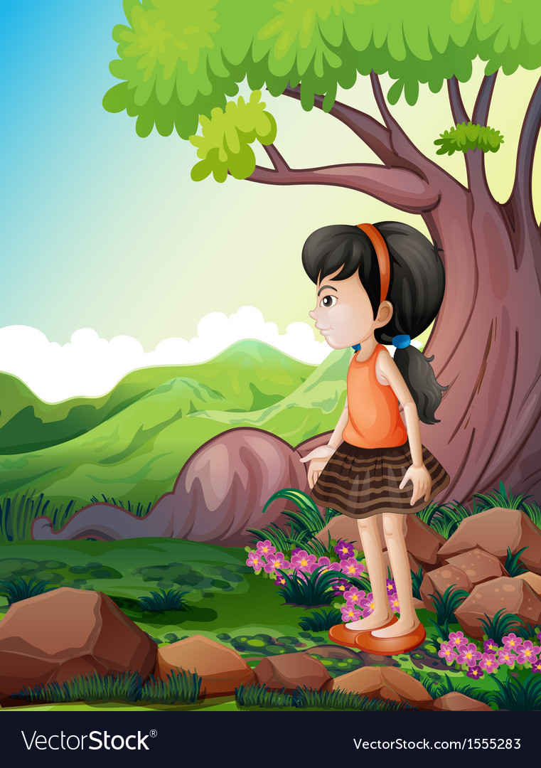 A cute little girl near the giant tree vector | Price: 3 Credit (USD $3)
