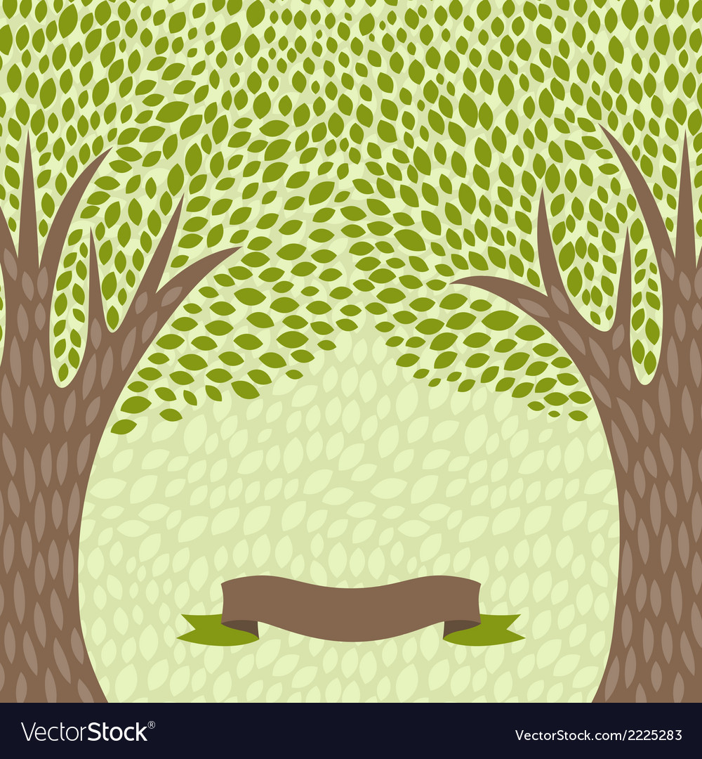 Abstract background with stylized trees in retro vector | Price: 1 Credit (USD $1)